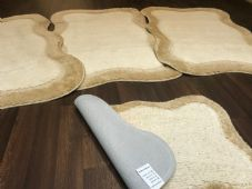 ROMANY WASHABLES TRAVELLER MATS FULL SET OF 4 X NEW LT BEIGE-CREAM 80X120CM